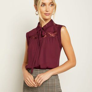 NEW with tag RW &Co Lace-trimmed Blouse with Neck
